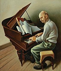 Thomas Hart Benton / The Sun Treader (Portrait of Carl Ruggles) / ca. 1934    Tempera with oil on canvas, mounted on panel