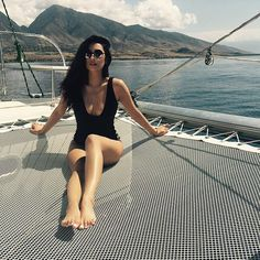 Pin for Later: Shay Mitchell's Favorite Bathing Suit Is About to Become Your Favorite Bathing Suit Shay Had Previously Worn the Low-Cut Black Suit on a Boat Now shop a similar option for yourself!