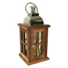 Northlight Seasonal 31319813 18 in. Modern Sheesham Wood Candle Lantern With Silver Metal Handle, Brown Wooden Lanterns, Candle Lanterns, Sparkling Lights, Wood Glass, Candlesticks, Tea Lights, Silver Metal, Handle, Modern