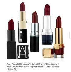 dark cherry lips for fall: Nars - Scarlet Empress, Bobbi Brown - Blackberry, MAC - Dubonnet, Dior - Hypnotic Red and Estee Lauder - Bitten Fig. Kiss Makeup, Love Makeup, Makeup Tips, Makeup Looks, Hair Makeup, All Things Beauty, Beauty Make Up, Hair Beauty, Batons Matte