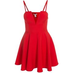 Nly One Flirty Flare Dress ($51) ❤ liked on Polyvore featuring dresses, tall dresses, skater dress, deep v neck dress, red cocktail dress and deep v neckline dress