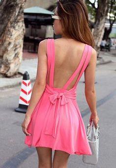BACKLESS BOW-KNOT BOUND WAIST DRESS