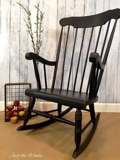 How to Paint Spindles with a Paint Sprayer by Just the Woods is part of Painted rocking chairs - Just the Woods, llc shares a vintage rocking chair makeover and shows how to paint spindles using a paint sprayer transforming grandma's rocker Black Distressed Furniture, Black Painted Furniture, Distressed Furniture Painting, Wood Bedroom Furniture, Funky Furniture, Classic Furniture, Furniture Makeover, Desk Makeover, Painting Furniture