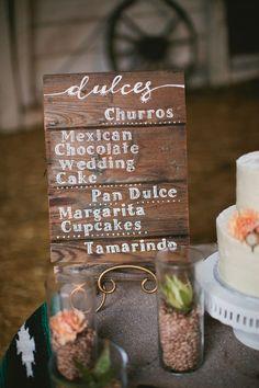wooden menu sign, photo by Inkspot Photography http://ruffledblog.com/mexican-ranch-wedding-ideas #weddingsigns #menus