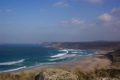 Sea for surfers at Sennen Cove in Cornwall