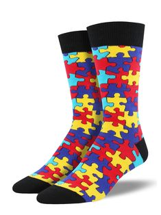 Fun socks bring the pieces of your outfit together perfectly. Up your sock game with our bold and colorful puzzle socks! With all the vibrant color you'll need for a stimulating day, these game socks add a playful twist to your attire. Crazy Socks, Cool Socks, Ugly Socks, Men's Socks, Mens Novelty Socks, Pieces Men, Custom Socks, Colorful Socks, Athletic Socks