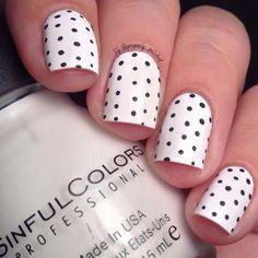 Black and white polka dots nail design for shots nails