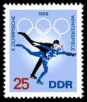 First Day of Issue / Erstausgabetag: Januar 1968 Winter Olympic Games, Winter Games, Winter Olympics, German Stamps, Commemorative Stamps, East Germany, Love Stamps, Sports Figures, Figure Skating