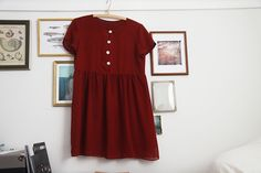 . More Buttons Babydoll, Little Red Dresses, Babydoll Dresses, Fashion Ideas, Dresses To Impressions, Baby Dolls, Dresses Skirts Baby doll  little red dress. Red buttoned babydoll dress