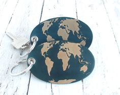 Long Distance Relationship Keyring, Long Distance Love, Customizable World Map, Long Distance Friendship Map, World Map Leather Keychain by Amy's Leather Lane $30.00 USD