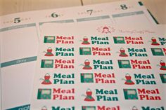 This set includes 45 1.25 wide stickers to mark meal planning in your planner.  I started with an empty planner and coloring pencils. I drew