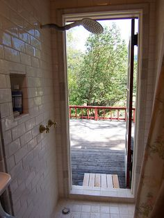 Shower with exterior door compact 3 4 bath pinterest for Indoor outdoor french doors