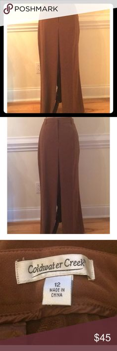 """Coldwater Creek Women's 12 Brown Shaper Pants New Here is a lovely pair of pants by Coldwater Creek for women size 12. These are absolutely gorgeous but still comfortable because of the soft fabric. The color is saddle brown. Built in tummy control shaping panel. Measures Approximately Waist: 31"""" Hip: 45"""", Inseam: 31"""". Brand new! Coldwater Creek Pants Trousers"""