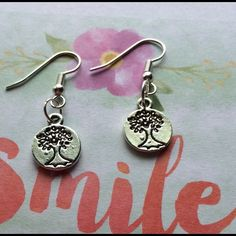 "Small Tree of Life Earrings Small and round Tree of Life Silver Earrings aprox 1 1/2"" long Jewelry Earrings"