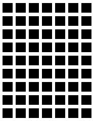 "Did you notice the small grayish dots between the black boxes. They are not part of the drawing - they were put there by your brain! Scientists call this ""visual vibration."" Basically it means that when you see patterns of black and white, your eye sometimes confuses the two and blends them into patterns of gray that you see here. You are seeing something that is not really there!"