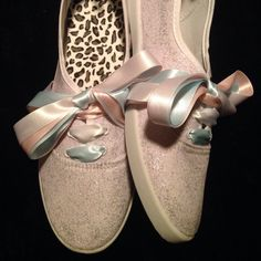 Cascada Bella Designs Women's White Ice Glitter Plimsolls (Pink, White, and Blue Satin Ribbon Laces) · Cascada Bella Designs · Online Store Powered by Storenvy