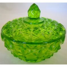 Depression Green Glass Lidded Candy Dish Bowl Powder Jar Pineapple or Raised Quilted Pattern