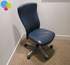 Blue Real Leather Operator Chair Net Price Upholstered In Real Leather Blue Finish High Back Curved Back Ratchet Back Height Adjustment Synchronised Mechanism Chome Base Buy Used Furniture, Office Furniture, Used Chairs, Ratchet, Real Leather, Base, Stuff To Buy, Home Decor, Decoration Home