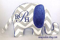 Custom monogrammed elephant nursery pillow with grey chevron & midnight blue minky | by SewPookie on Etsy