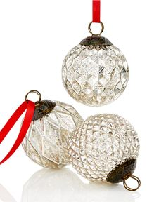 Holiday Lane Set of 3 Textured Silver Ball Ornaments, Only at Macy's - Christmas Ornaments - For The Home - Macy's