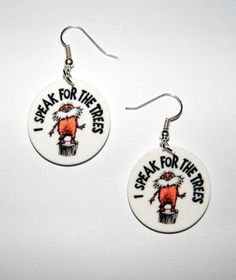 The Lorax Movie Book by Dr Suess Lorax Quote I speak for the trees Earrings in Toys & Hobbies, Jewelry & Watches | eBay