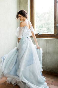 Blue wedding dresses and dresses with blue accents 2020 Light Blue Wedding Dress, Non White Wedding Dresses, Two Piece Wedding Dress, Wedding Skirt, Light Blue Dresses, Long Bridesmaid Dresses, Bridal Dresses, Ethereal Wedding Dress, Blue Grey Weddings