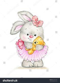 Cute bunny with baby bear
