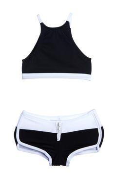 fb4dbfcefab97 Black on White Racer Two Piece Kids Swimsuit Bikini Bathing Suits For Teens,  Summer Bathing