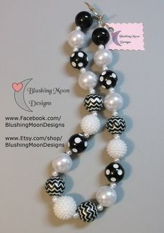 Black Chevron Dotted White Pearl Chunky Bubblegum Bead Necklace                            (Matching Bracelet & Headband available)