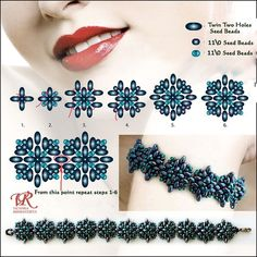 Free pattern for beautiful beaded bracelet Blue Star with twin two holes seed beads by Viktoria Rumiantzeva