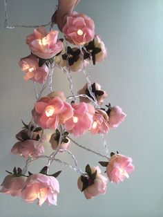 Deep coral pink shabby rose fairy lights pretty flower string lights deep coral pink shabby rose fairy lights pretty flower string lights nursery party lighting art for deco pinterest party lighting dorm lighting and mightylinksfo