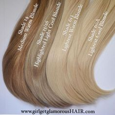 "girlgetglamorousHAIR on Instagram: ""Meet Our Blondes!  Shade 15/26 is a great match for most cool highlighted blondes, Shade 14 is a nice medium warm caramel blonde, Shade 613 is an extra light warm blonde, and shade 60A is also an extra light blonde but with cool tones. And those thick ends are #thedoubledrawndifference  #gggHAIR #doubledrawnclipinextensions www.girlgetglamorousHAIR.com"""
