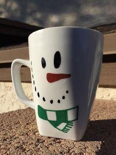 Snowman Mug Oil-Based Sharpie by LilBritainsArt on Etsy
