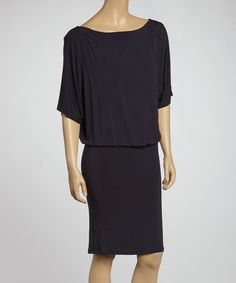 Take a look at this Navy Cape-Sleeve Dress by American Twist on #zulily today!