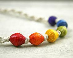 Little Deer Creations macrame hemp rainbow necklace featuring handmade paper beads