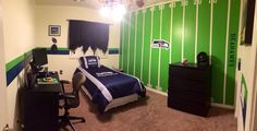 Boys bedroom.  Seattle Seahawks fan. Football