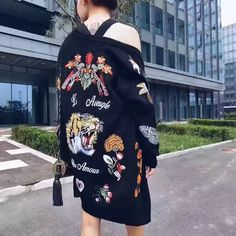 16 autumn winter hongkong women tops new style print cardigans knitting female sweater coat casual single breasted outwears 028