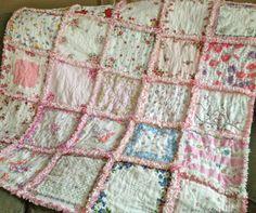 My Darling Hanky Handkerchief Rag Quilt in Pinks by ZeedleBeez, $75.00
