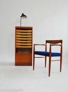 60er TEAK ROLLLADENSCHRANK Aktenschrank Kommode DANISH 60s CABINET WEGNER ERA | eBay