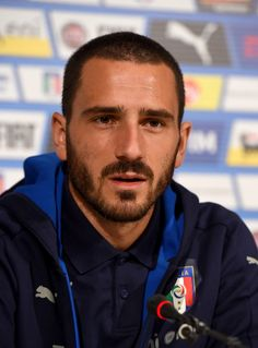 Leonardo Bonucci of Italy speaks to the media during a press conference at the club's training ground at Coverciano on October 4, 2016 in Florence, Italy.