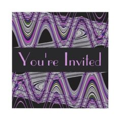 Mod abstract purple design party invitations #purple #party #invitations