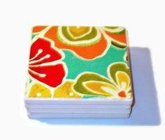 Set of 4 Ceramic Coasters In A Fruity Color by PillowsGaloreNMore