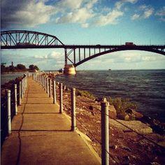 Border, Peace Bridge near Buffalo, NY Wonderful Places, Great Places, Places To See, Places Ive Been, Buffalo New York, Buffalo Art, Niagara Falls Ny, Niagara Region, Bike Path
