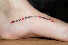 Dates of when she met her hubby and when their children were born #tattoo