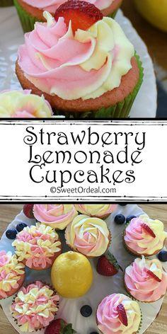 Strawberry Lemon Cupcakes, Fruit Cupcakes, Cupcake Flavors, Baking Cupcakes, Yummy Cupcakes, Cupcake Cakes, Cupcake Recipie, Strawberry Lemonade Cake, Cupcake Ideas