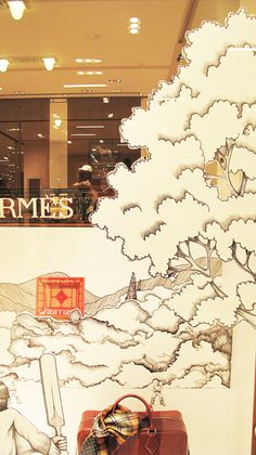 for play--we could draw up and cut out illustrations that are layered to create a stage set backdrop effect Pop Display, Visual Display, Display Design, Store Design, Retail Windows, Shop Windows, Hermes Window, Cut Out Art, Store Window Displays