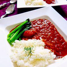 hayuちゃんこんばんは〜Hello♫( ⁎❜⃘⃘◡❜⃘⃘⁎ )ノ クックパッドのレシピをhayuちゃんがUPしてくれていたので、つくフォトしちゃいました〜♡ ゚・*:.アリガ。.ヾ(❀◕ω◕)ノ ゚・*トゥ:.。゚・*  辛いのが苦手なおっさんに、ちょうどいい辛さのカレーヘ(゚▽、゚*)ノ ジュル♪ トマトの酸味と甘味でマイルドに♡ ルゥだけ飲むようにしておかわりしてはりました((⌯˃̶᷄₎₃₍˂̶᷄ ॣ)プッ♪ - 327件のもぐもぐ - hayu◡̶̈⃝*⑅さんの【簡単トマトチキンカレー∗*゚】 by yurie616