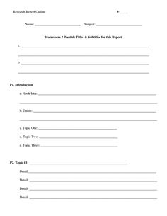 007 Free Printable Blank Outline for Writing Summaries or
