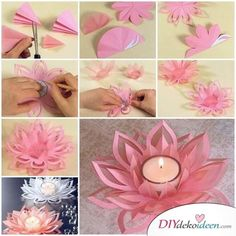 Learn How To Make A Paper Lotus Candle Holder - Find Fun Art diy paper crafts step by step - Diy Paper Crafts Diy Candles With Flowers, Paper Flowers Diy, Diy Paper, Paper Crafts, Diy Crafts Vases, Diy Home Crafts, Diy Arts And Crafts, Lotus Candle Holder, Candle Holders