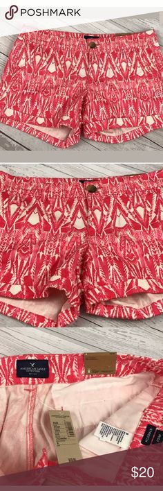 American Eagle Outfitters Shorts Size 8 NWT. American Eagle Outfitters Midi Stretch Cotton Blend Shorts Size 8 Mid Rise Pink/White. NWT. Please message me with questions.  Measurements  Rise: ~ 8 inches  Inseam: ~ 4 inches   A75 American Eagle Outfitters Shorts